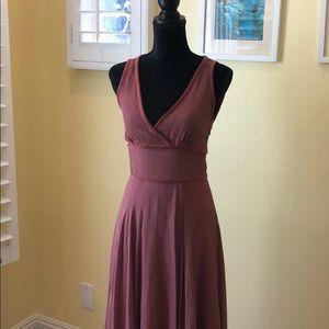 Dusty Rose 100% Silk sleeveless v-neck dress.